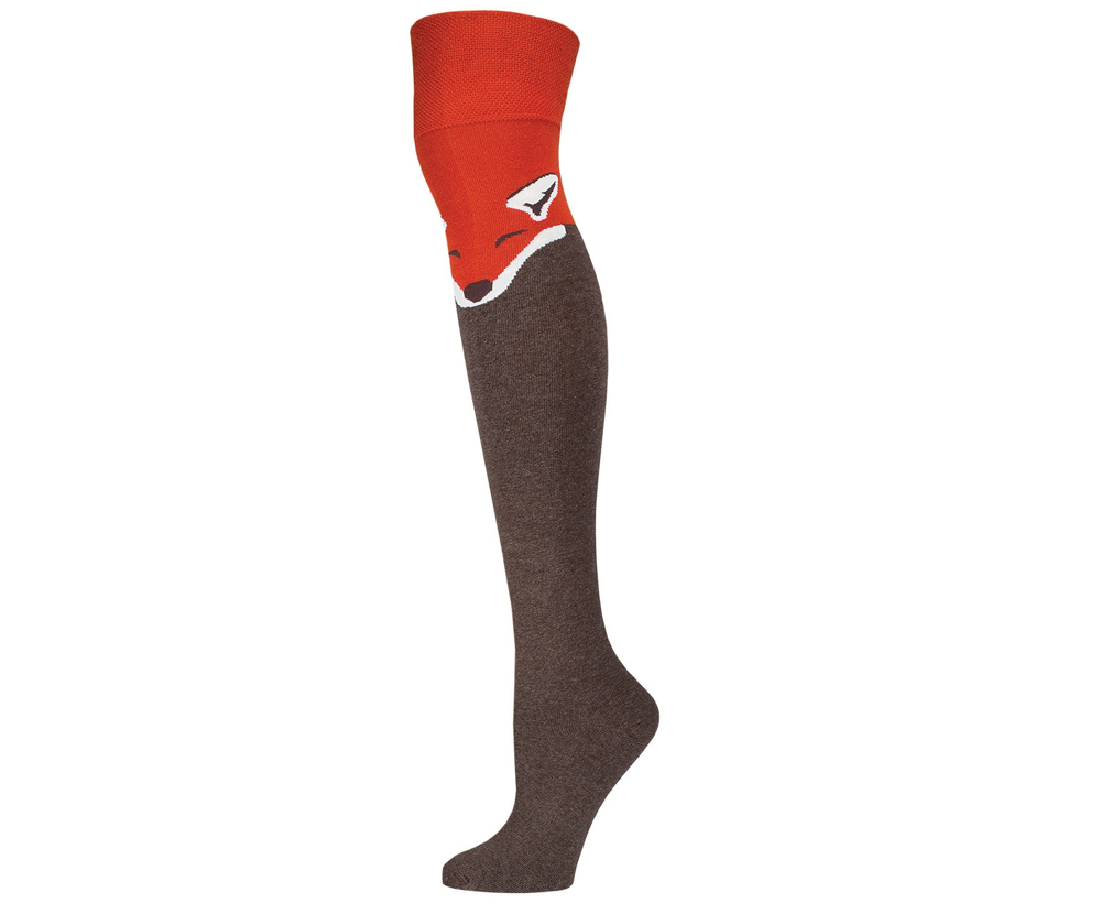 fox print knee high socks boot socks the knee socks